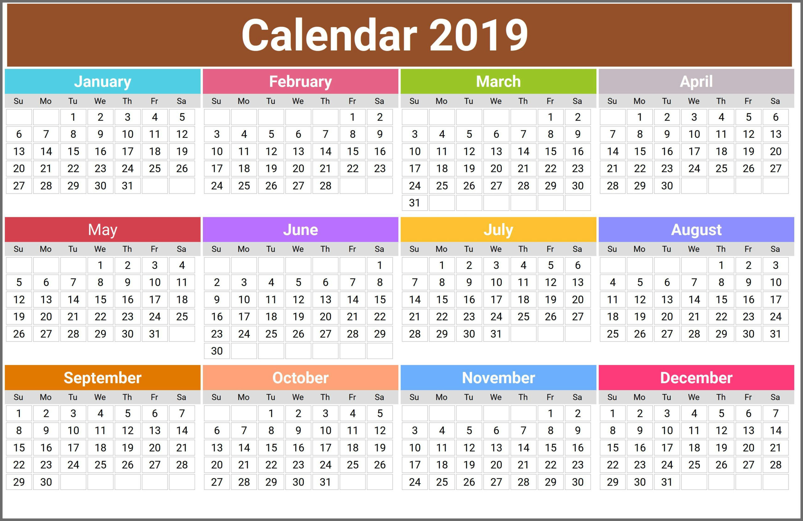 2019 Calendar Holidays Usa, India, Uk, Canada, Australia