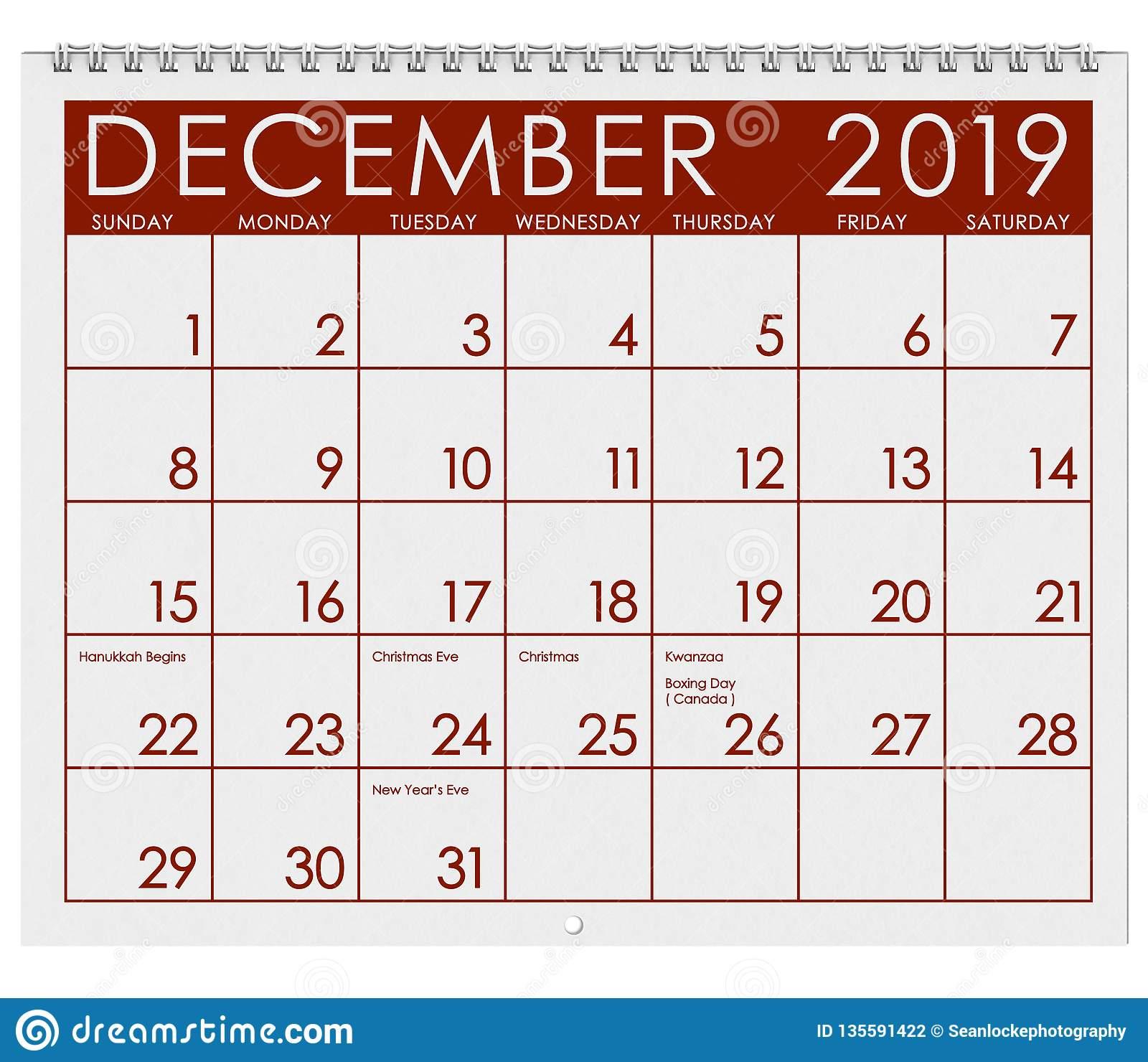 2019: Calendar: Month Of December Stock Illustration