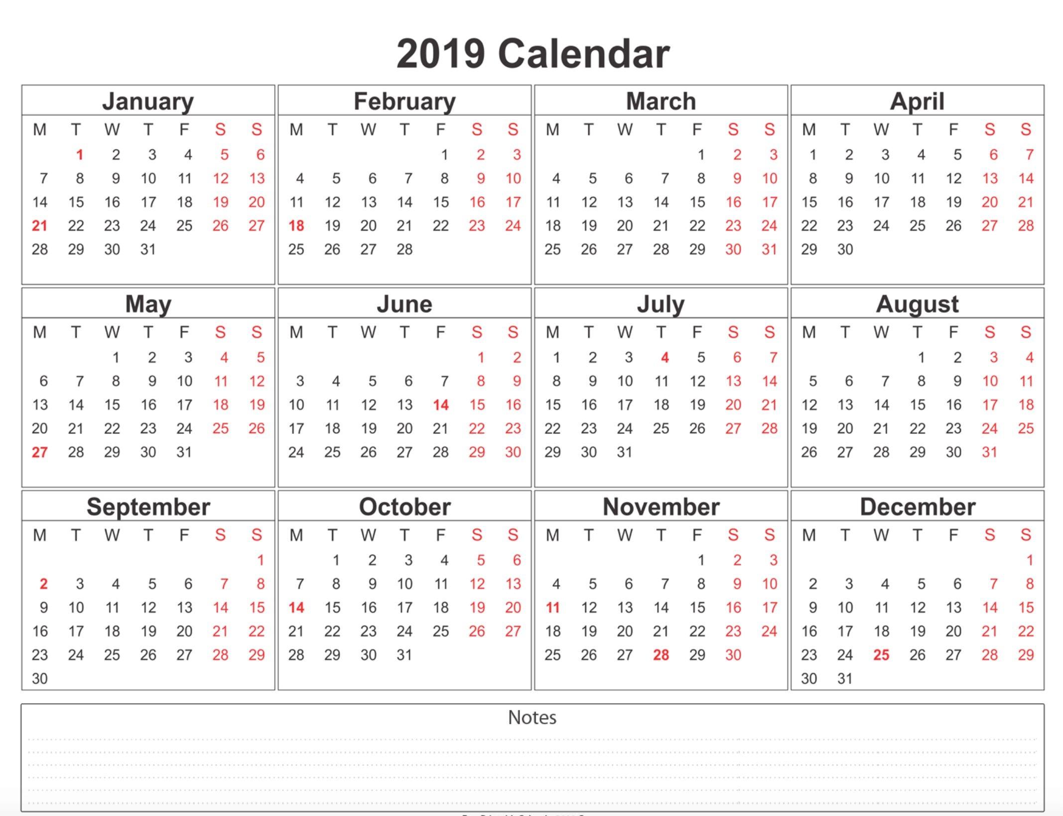 2019 Calendar Printable Free A4 Template