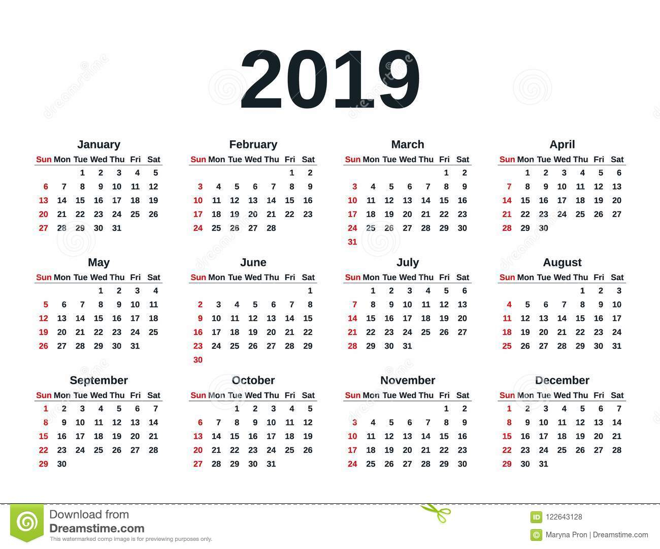 2019 Calendar Year. Vector Illustration. Template Planner