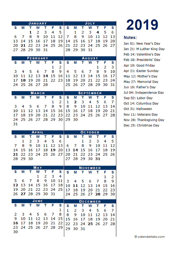 2019 Full Year Calendar Template Half Page - Free