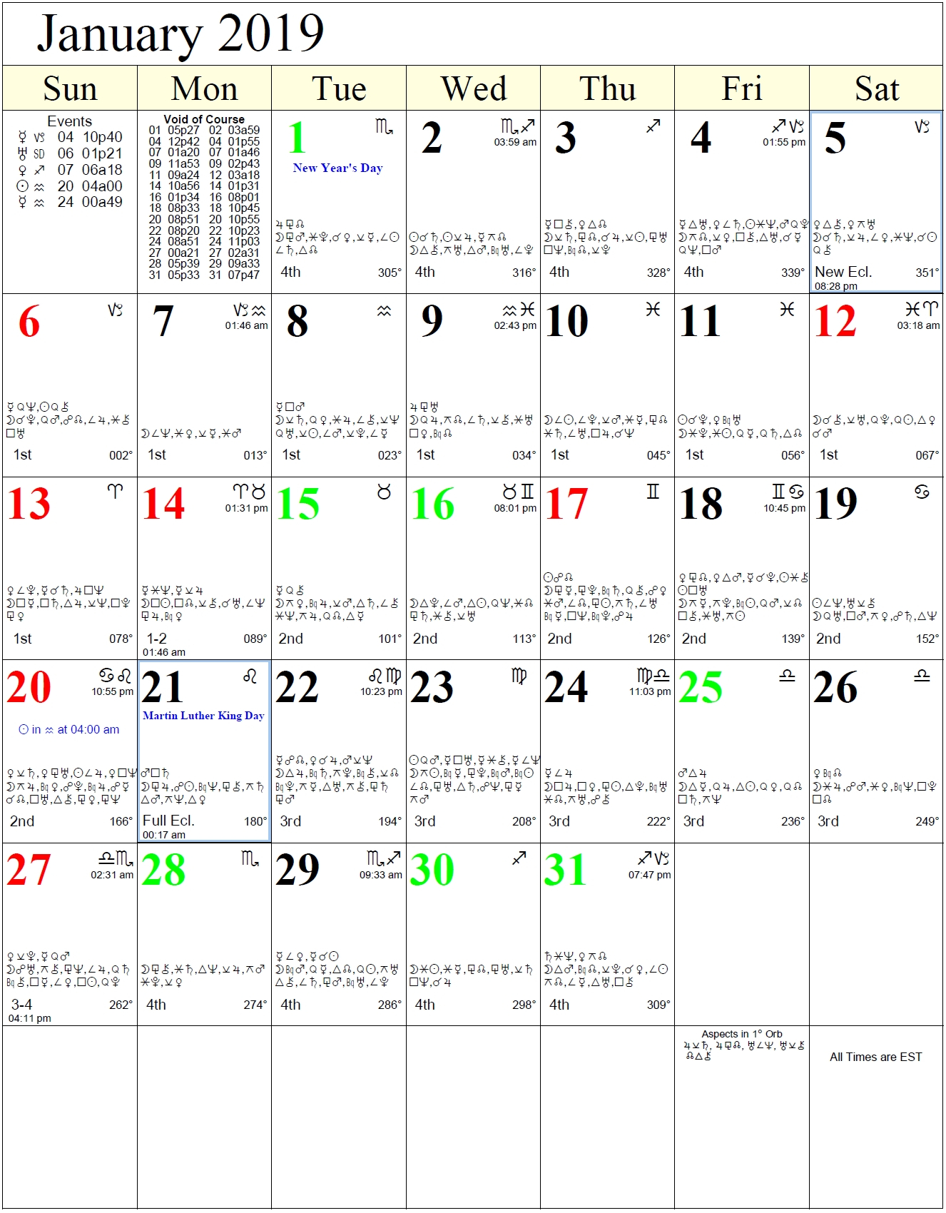 2019 Monthly Calendar With Zodiac – Template Calendar Design