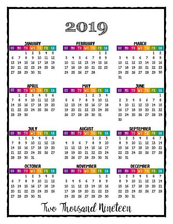2019 Printable Caribbean Color Calendar 2019 Wall Calendar