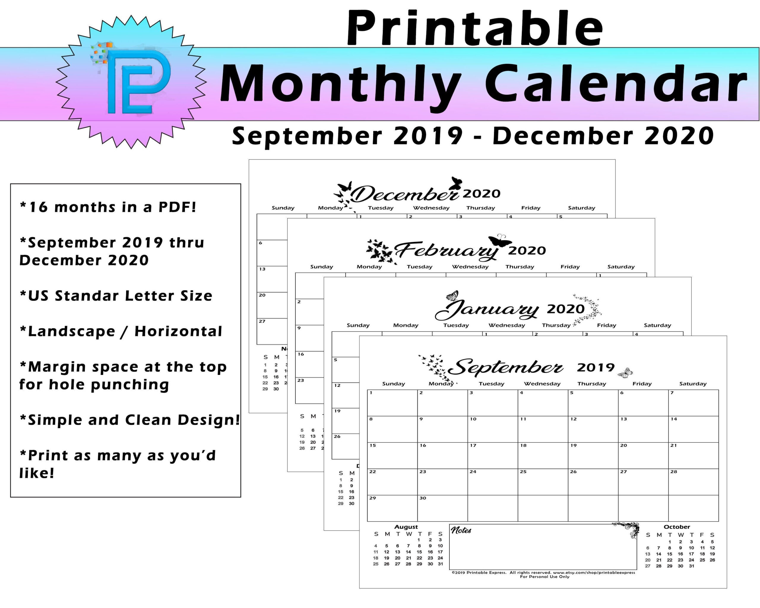 2019 Thru 2020 Printable Monthly And Yearly Calendars