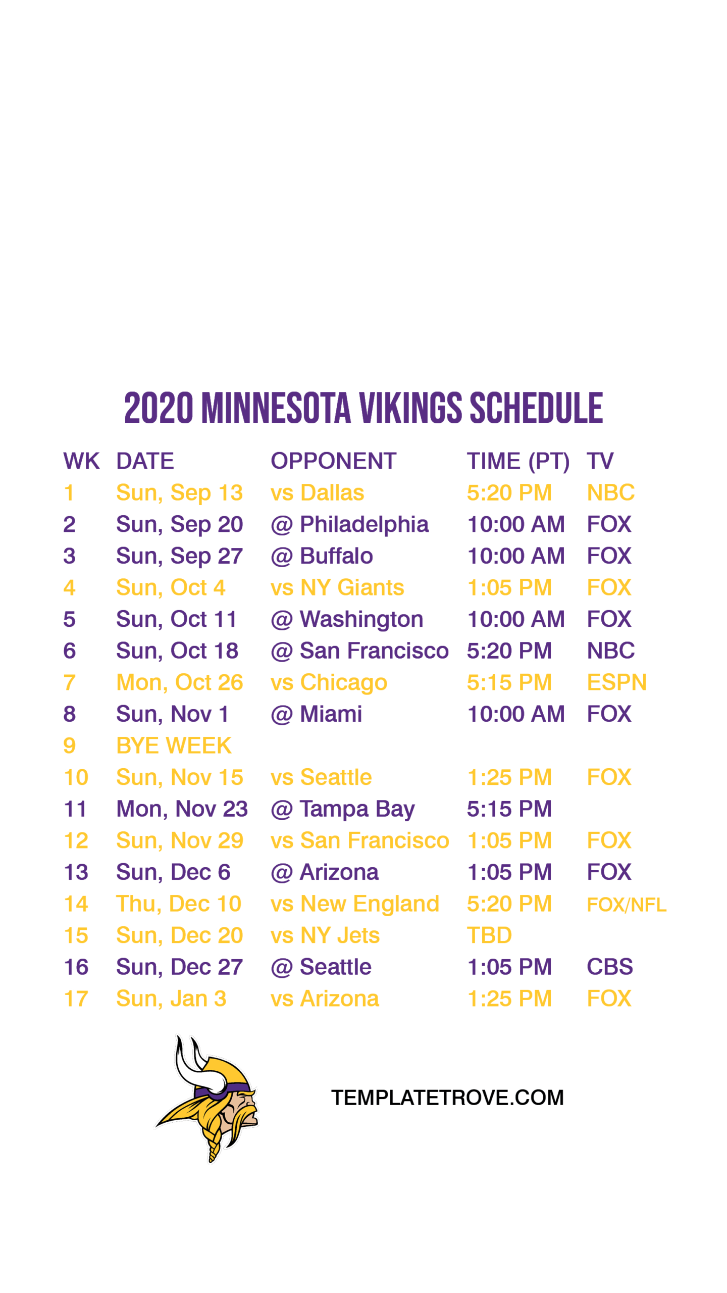 2020-2021 Minnesota Vikings Lock Screen Schedule For