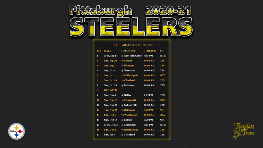 2020-2021 Pittsburgh Steelers Wallpaper Schedule