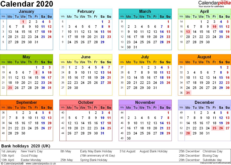 2020 Calendar 365 Uk | Calendar Printables Free Templates