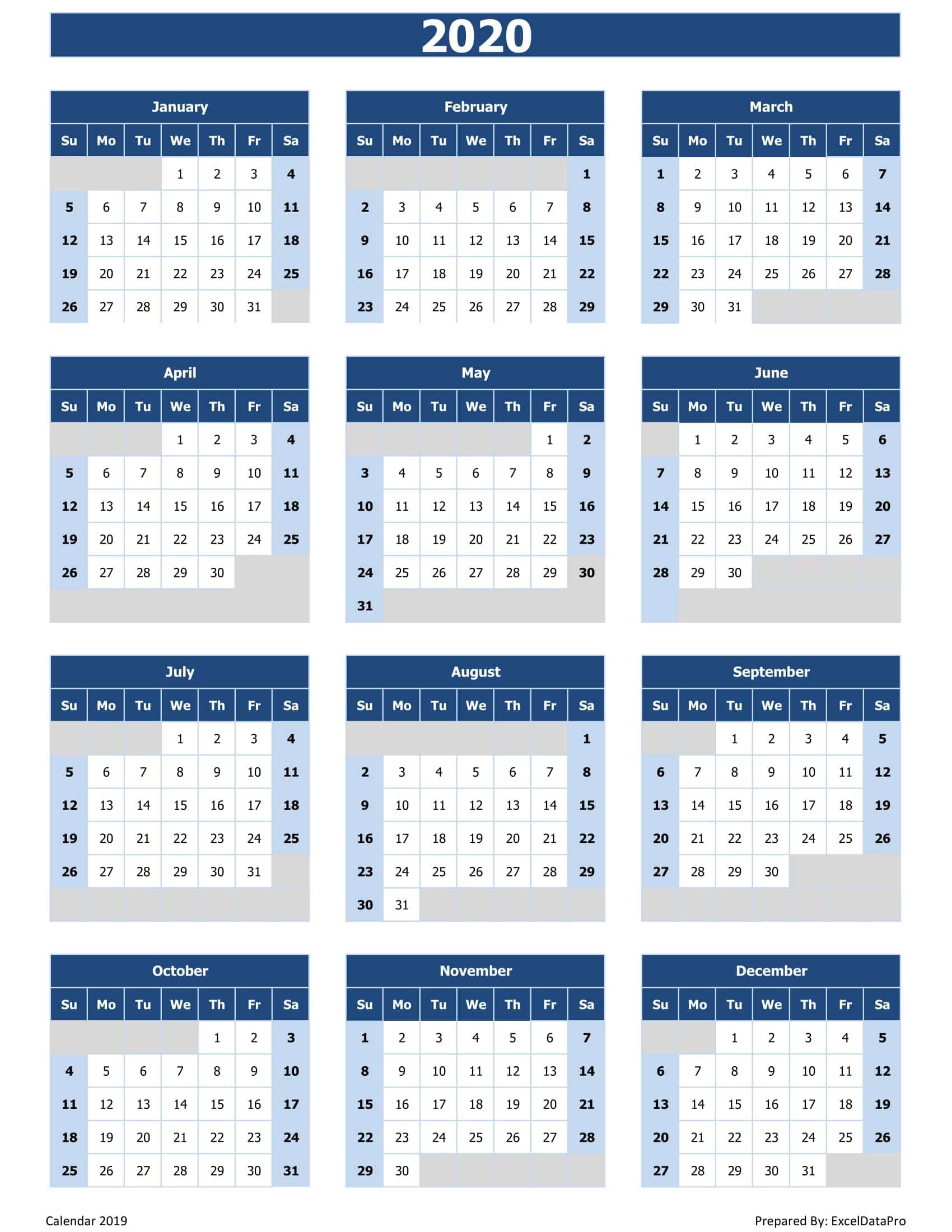 2020 Calendar Excel Templates | Print Calendar Page