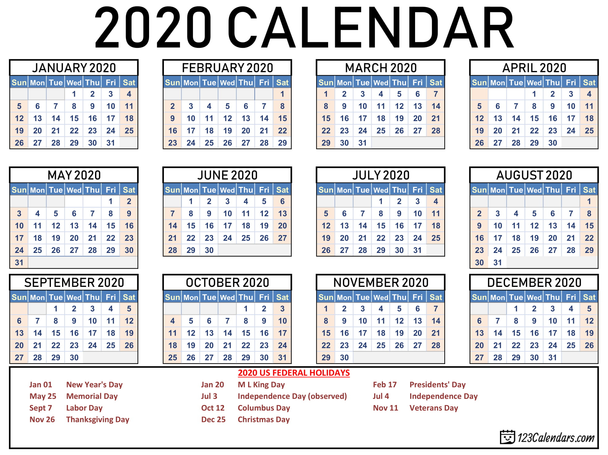2020 Calendar Federal Holidays | Calendar Printable Free