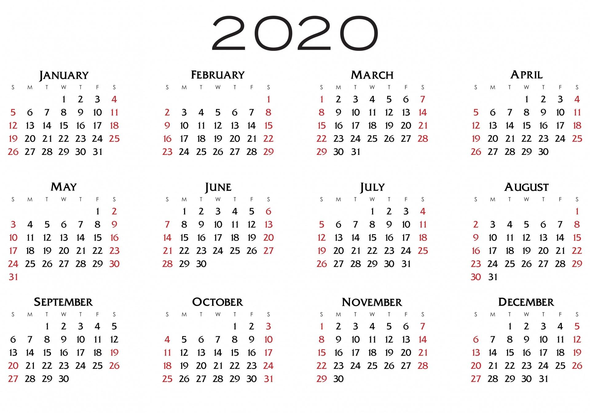 2020 Calendar Free Stock Photo - Public Domain Pictures
