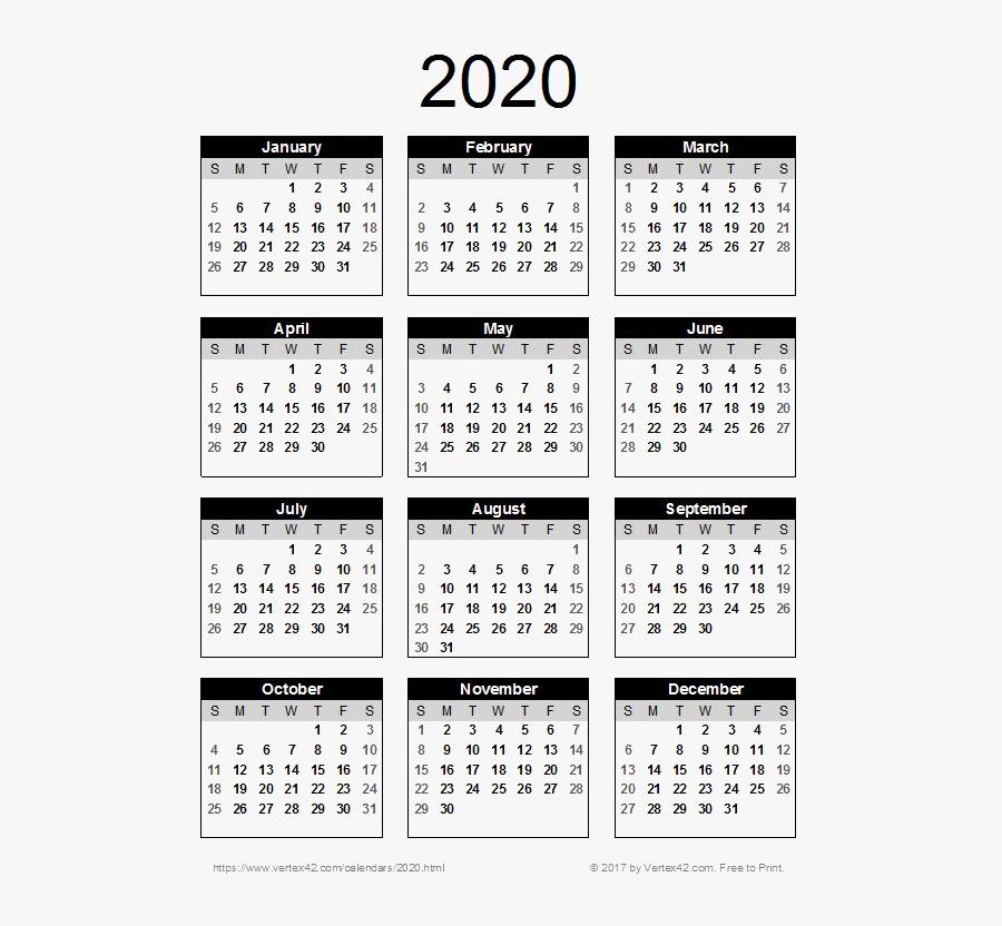 2020 Calendar Png Pic - Printable 2020 Calendar Uk , Free