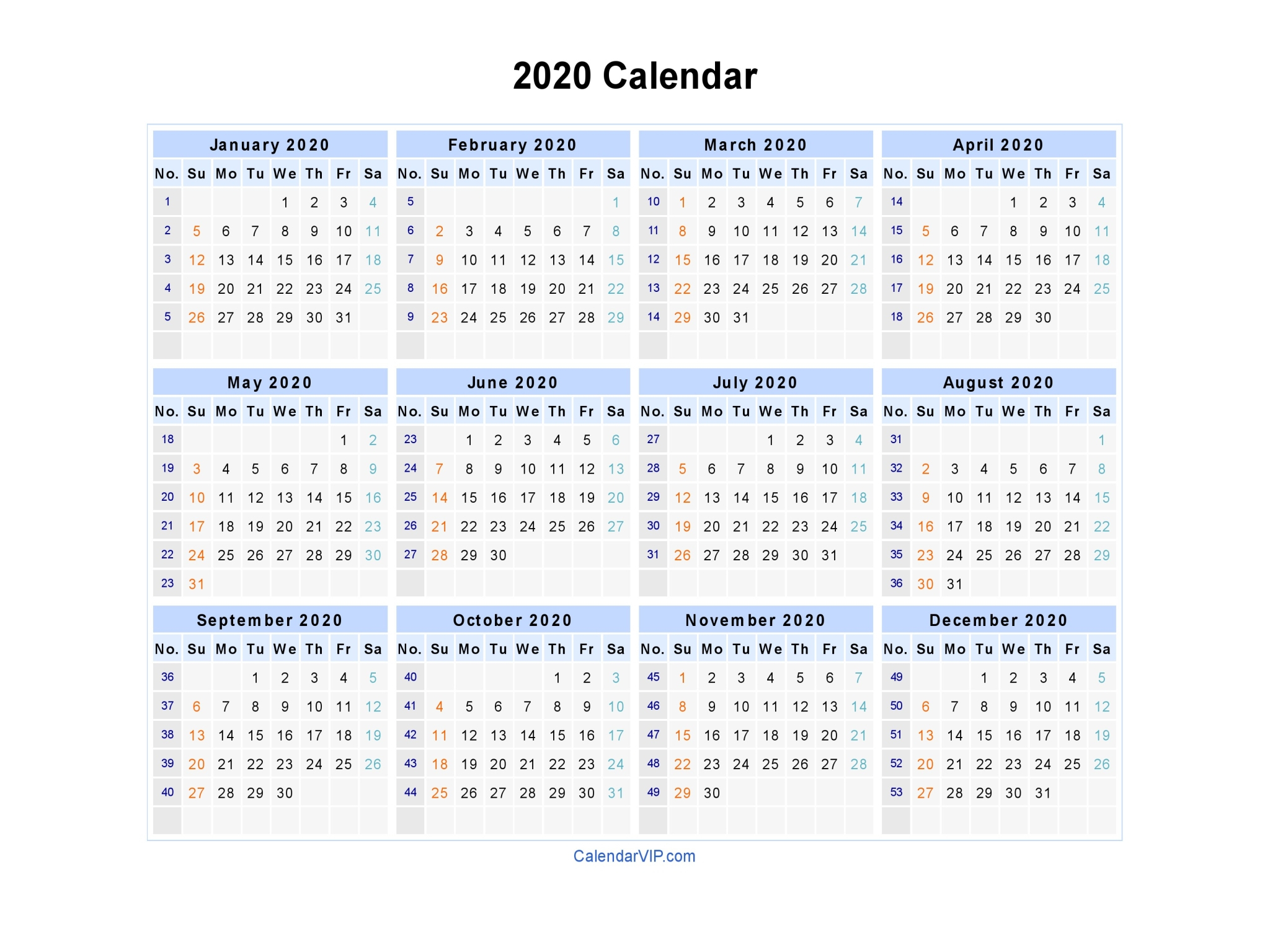 2020 Calendar Printable Five Day Week | Example Calendar