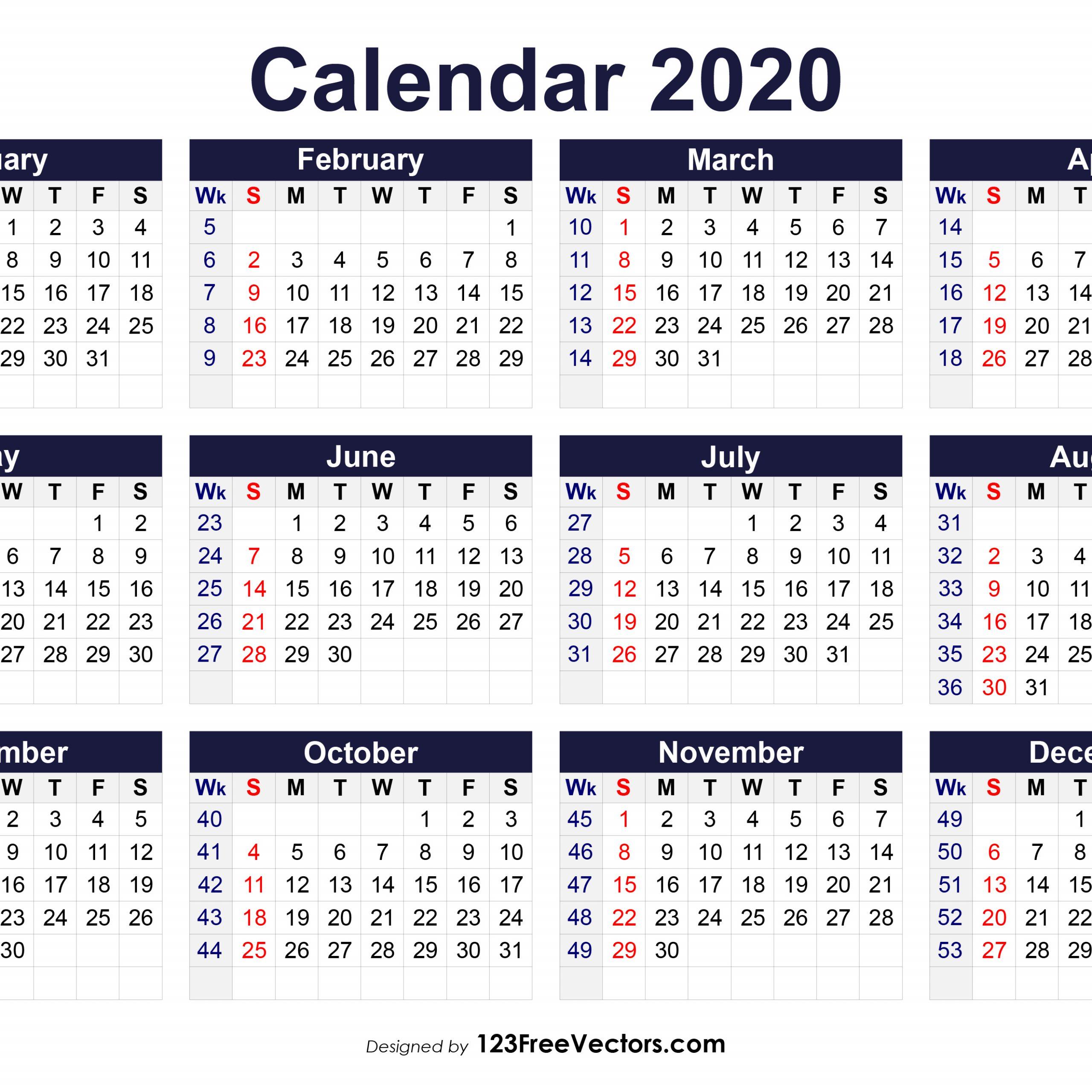 2020 Calendar Showing Week Numbers | Free Printable Calendar
