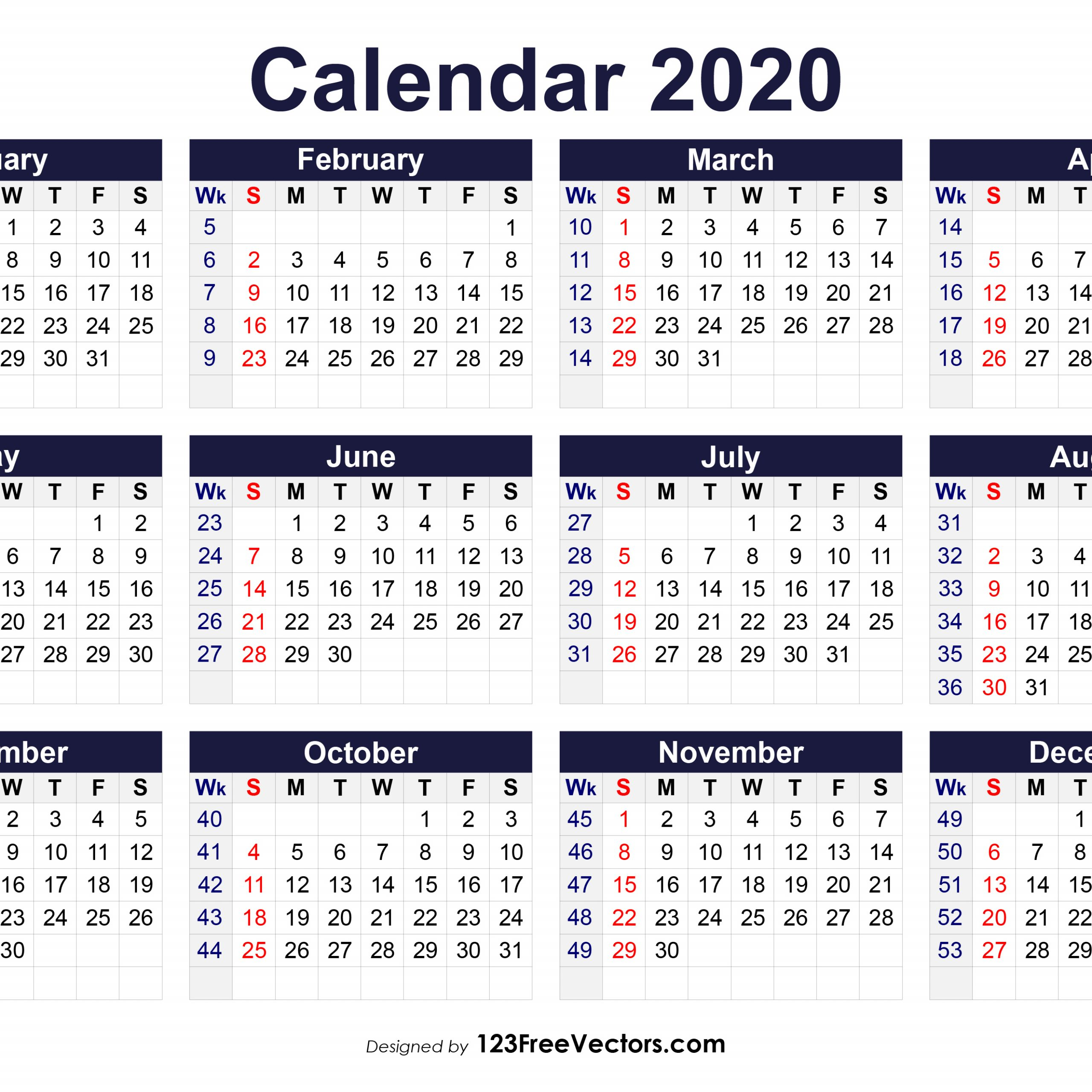 2020 Calendar Showing Week Numbers | Free Printable Calendar