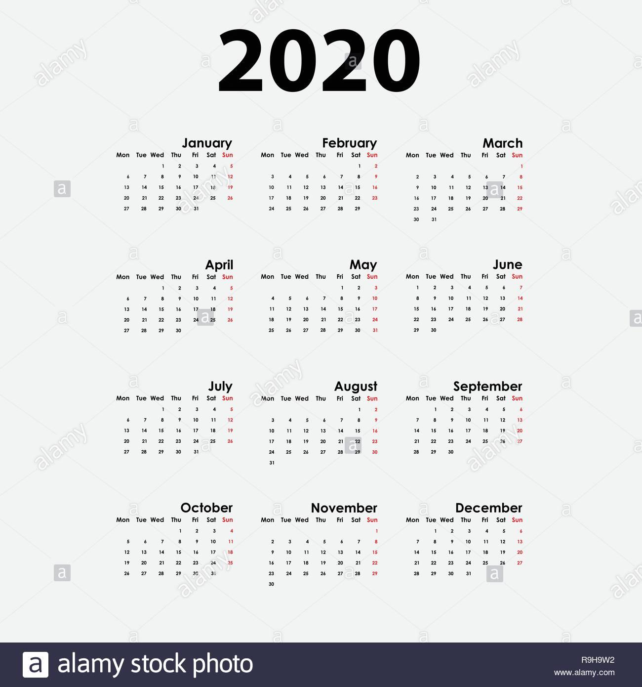 2020 Calendar Template.calendar 2020 Set Of 12 Months