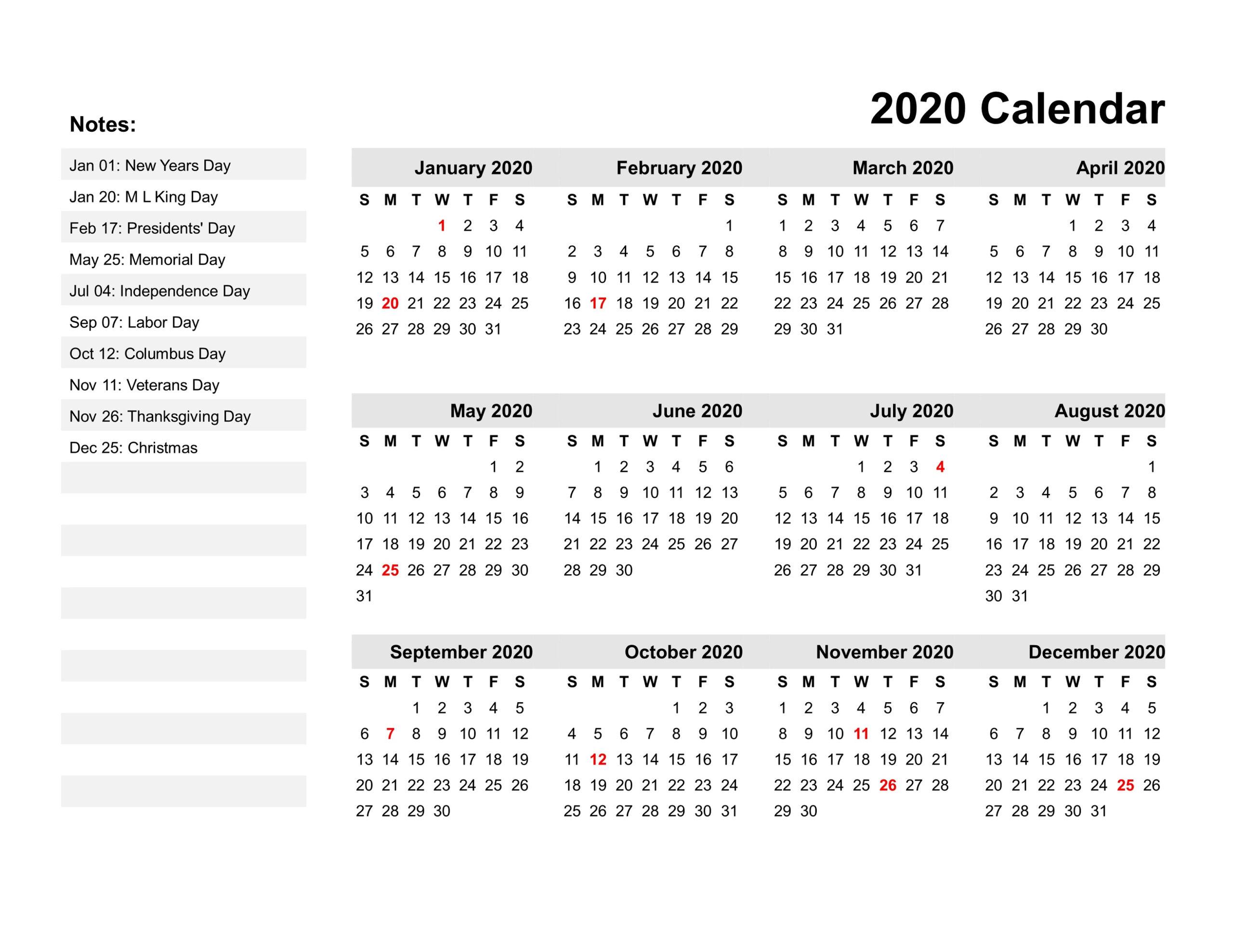2020 Calendar Template Claendar Labs | Example Calendar
