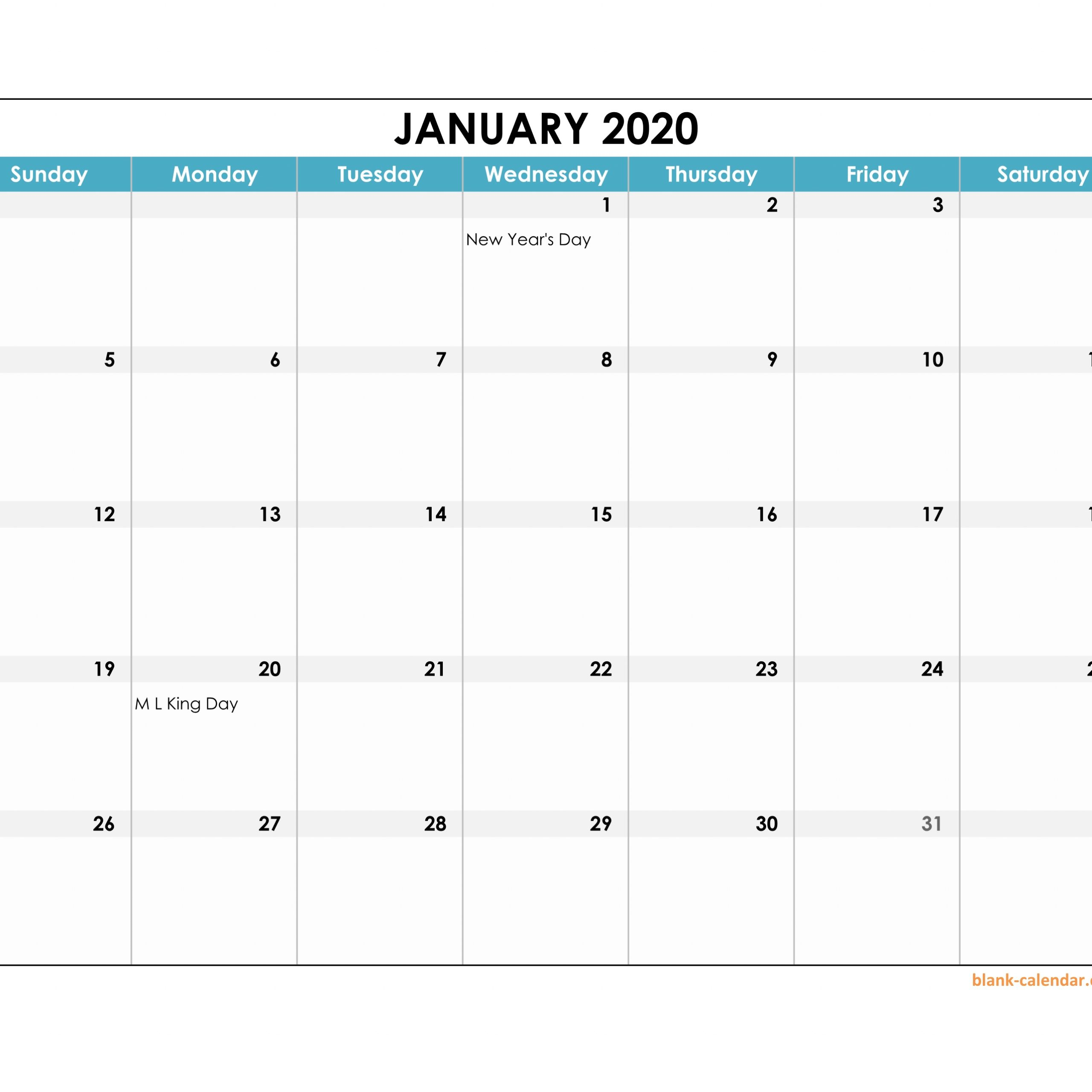 2020 Calendar Template Excel Editable | Free Printable