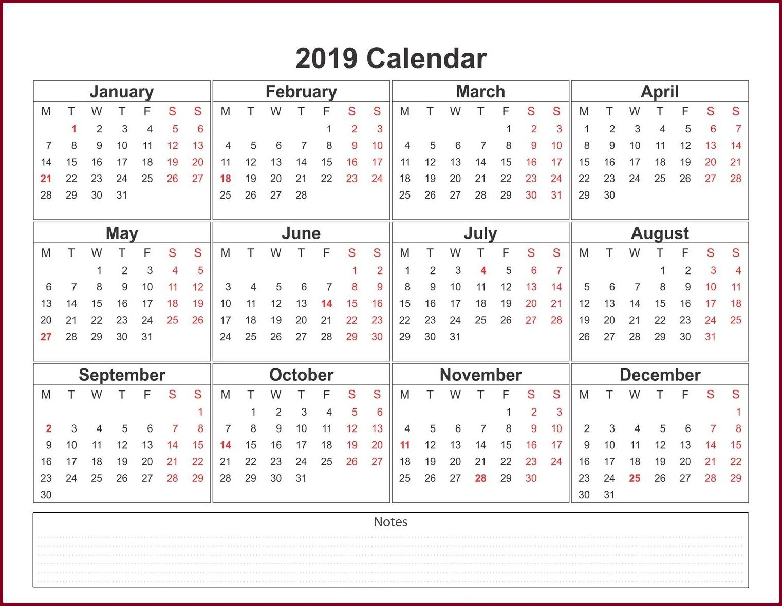 2020 Calendar Template Pdf, Excel, Word Download