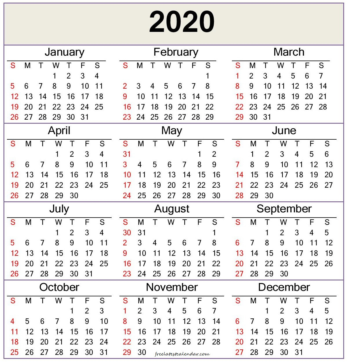2020 Calendar Template — Word, Pdf - Free Latest Calendar