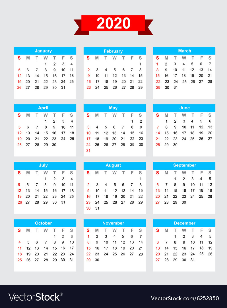 2020 Calendar Week Start Sunday Royalty Free Vector Image