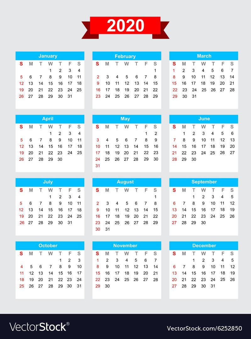 2020 Calendar Week Start Sunday Royalty Free Vector Image