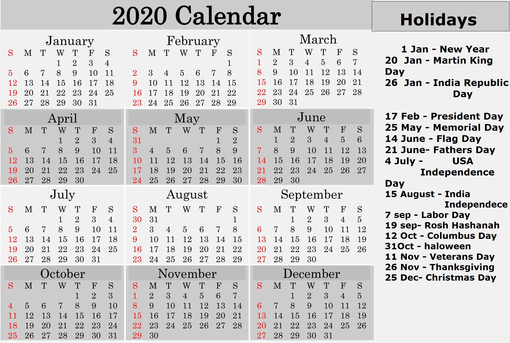 2020 Calendar With All Religious Holidays | Free Printable