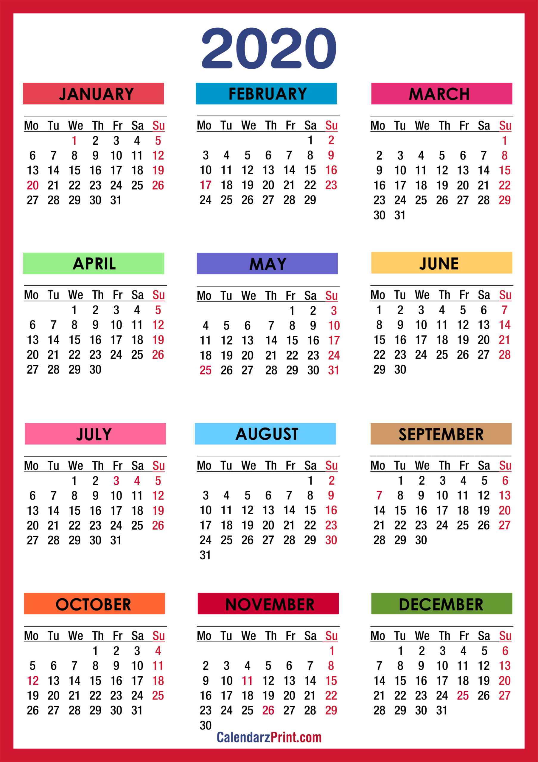 2020 Calendar With Holidays, Printable Free, Colorful, Red