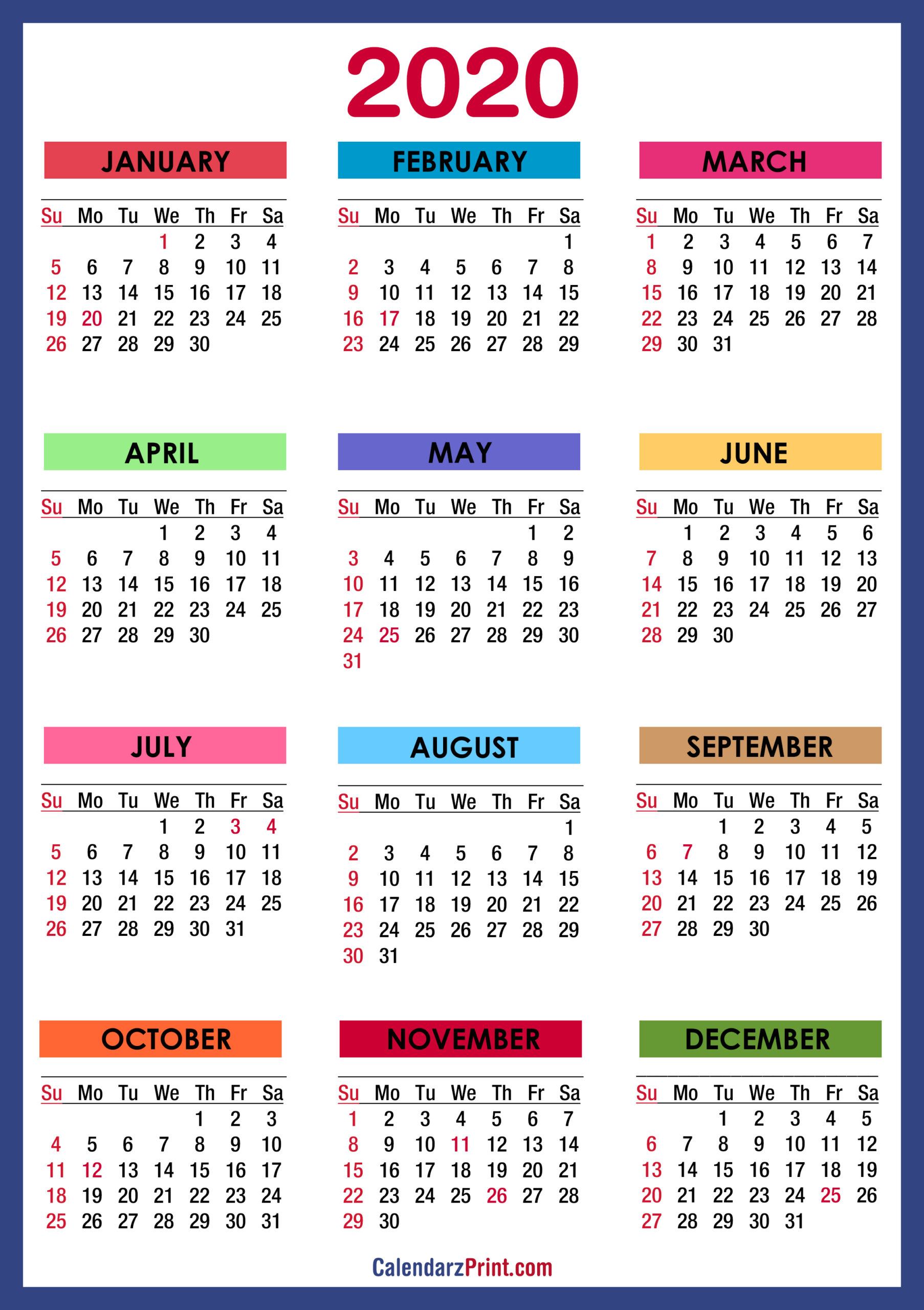 2020 Calendar With Holidays, Printable Free, Colorful