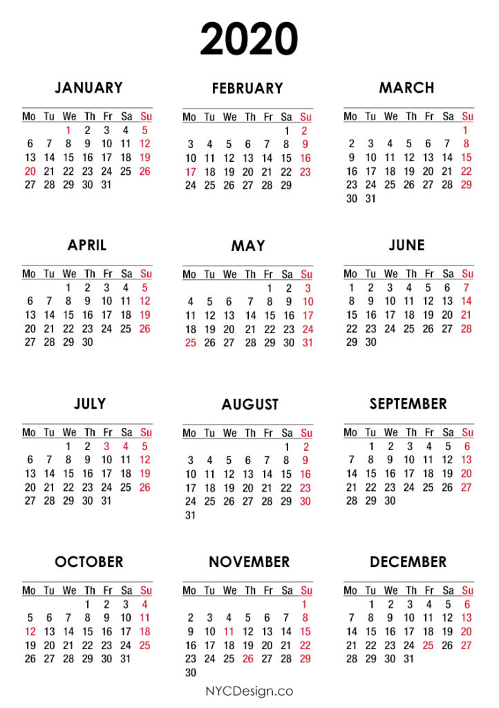 2020 Calendar With Us Holidays, Pdf – Printable, White
