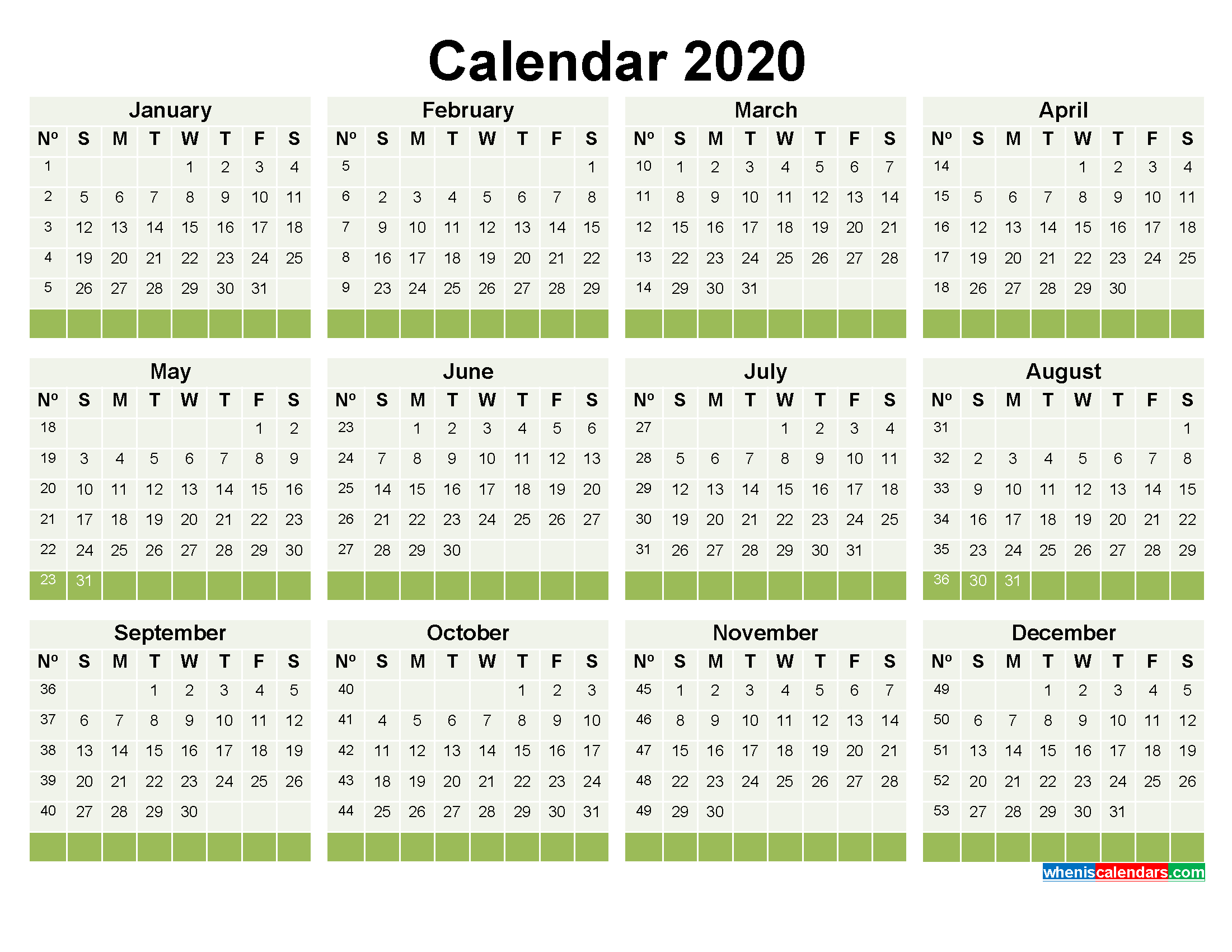 2020 Calendar With Week Numbers Printable Word, Pdf | Free