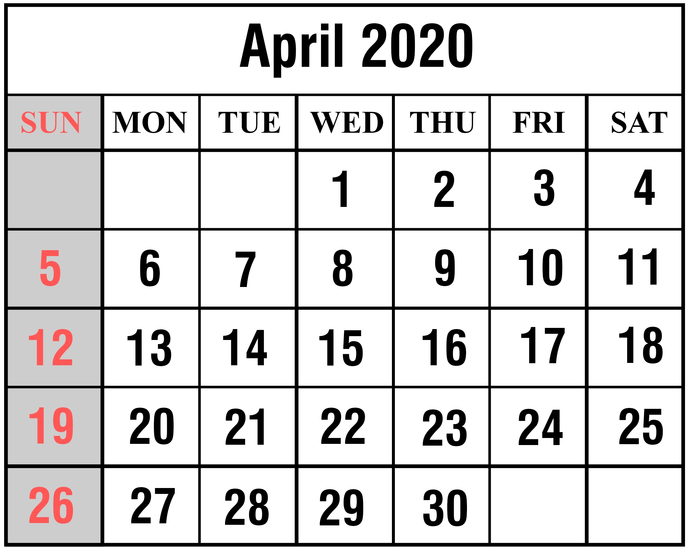 2020 Calender With Space To Write - Calendar Inspiration