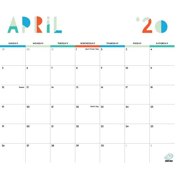2020 Colorful Printable Calendar For Moms - Imom