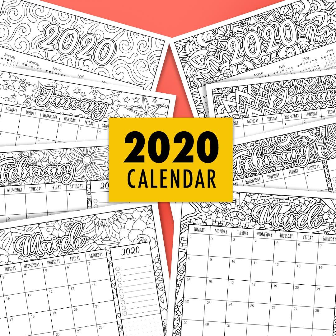 2020 Coloring Calendar - Sarah Renae Clark - Coloring Book