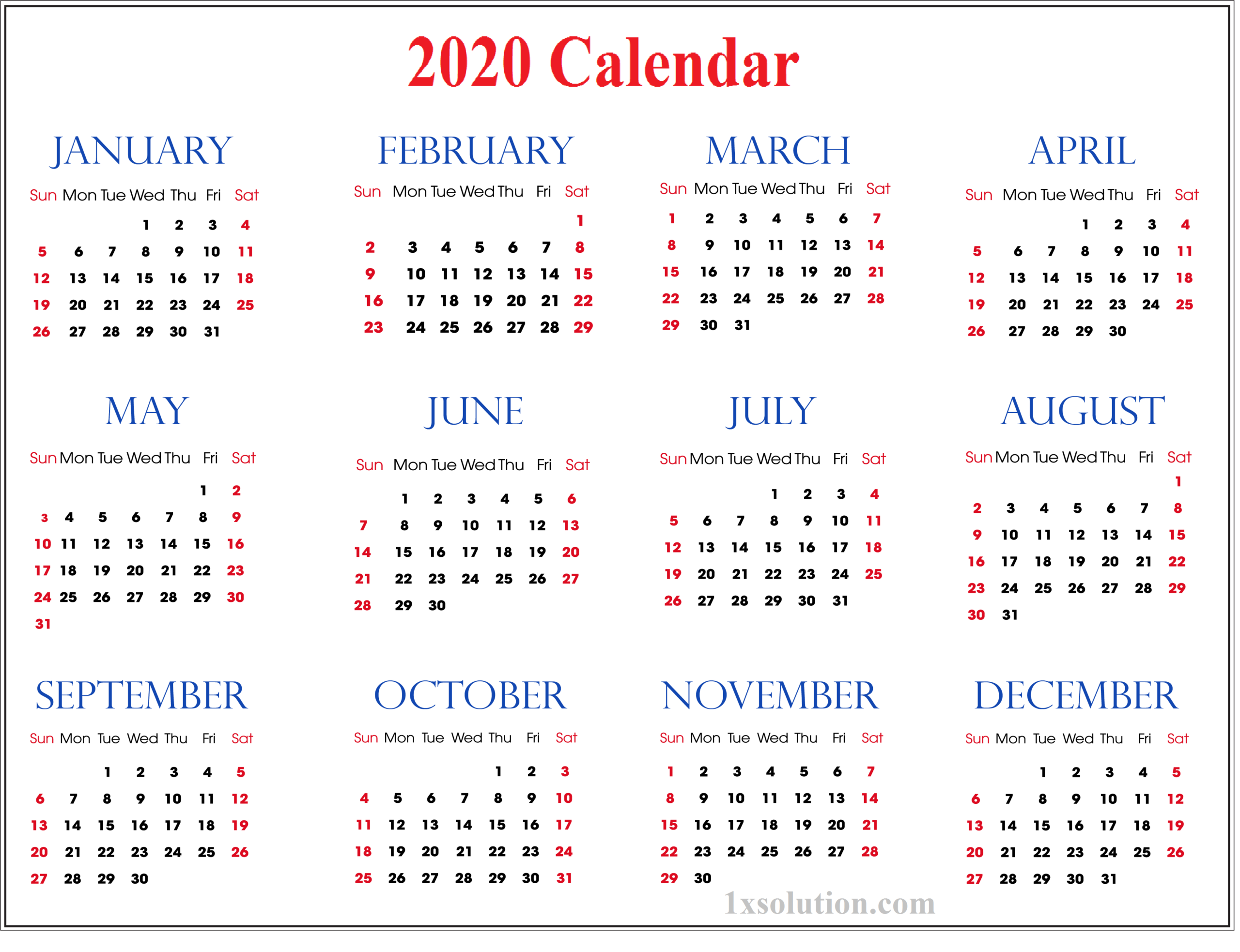 2020 Daily Calendar- To Write Your Important Notes