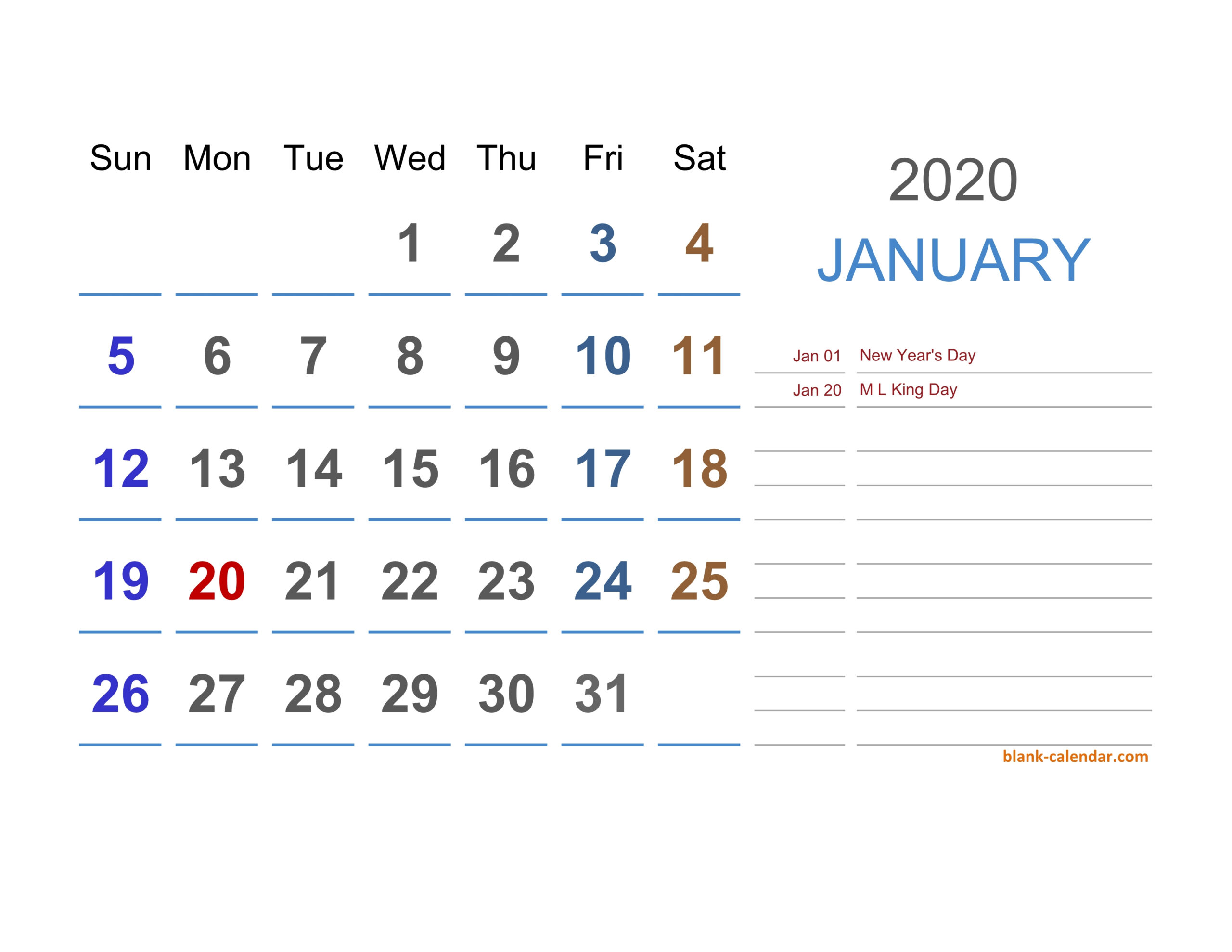2020 Excel Calendar   Free Download Excel Calendar Templates