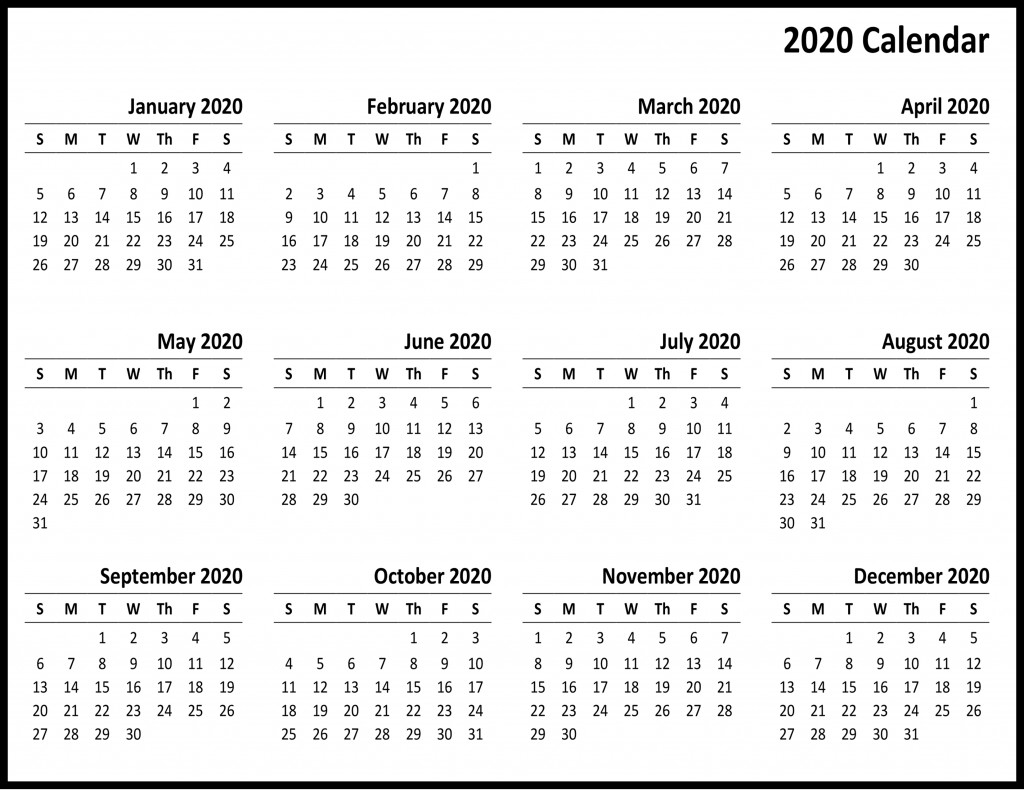 2020 Free Printable Yearly Calendar | Free Printable