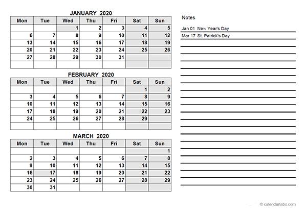 2020 Ireland Quarterly Calendar Template - Free Printable