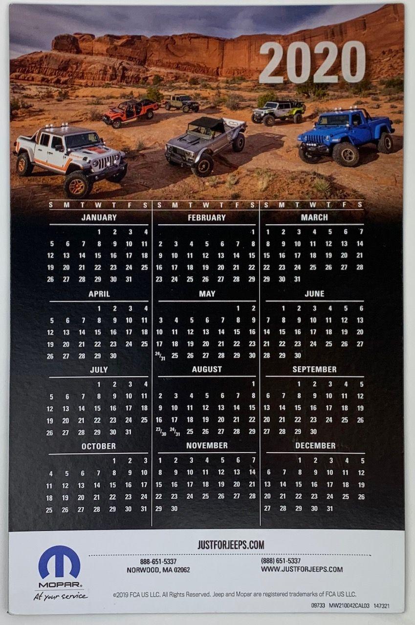 2020 Jeep Calendar Magnet #20Mag