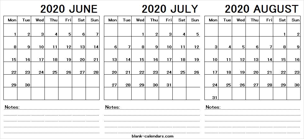 2020 June July August Calendar Blank Template - Pinterest