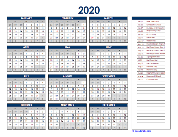 2020 Malaysia Yearly Excel Calendar - Free Printable Templates