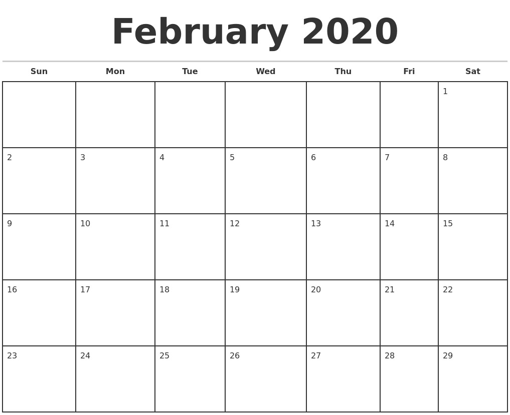 2020 Monthly Printable Calendars | Qualads