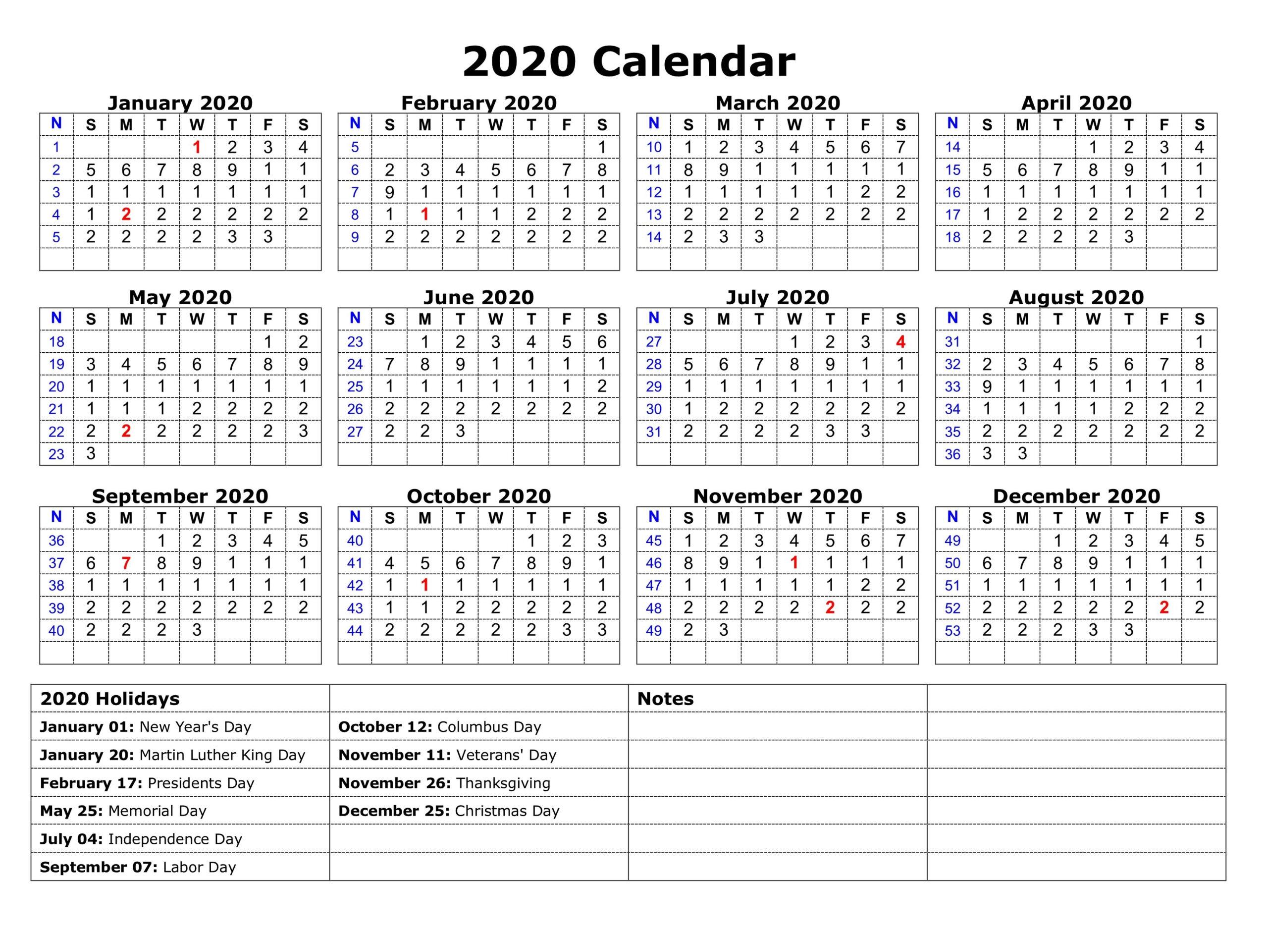 2020 One Page Calendar Printable | Calendar 2020