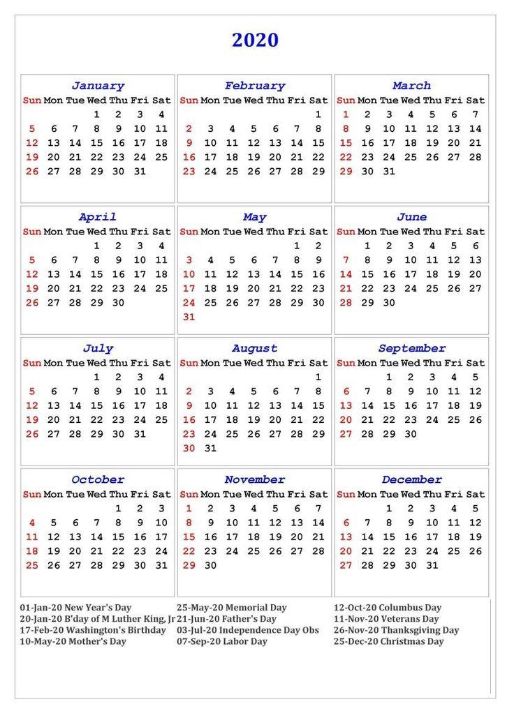 2020 One Page Holidays Portrait Calendar | Calendar