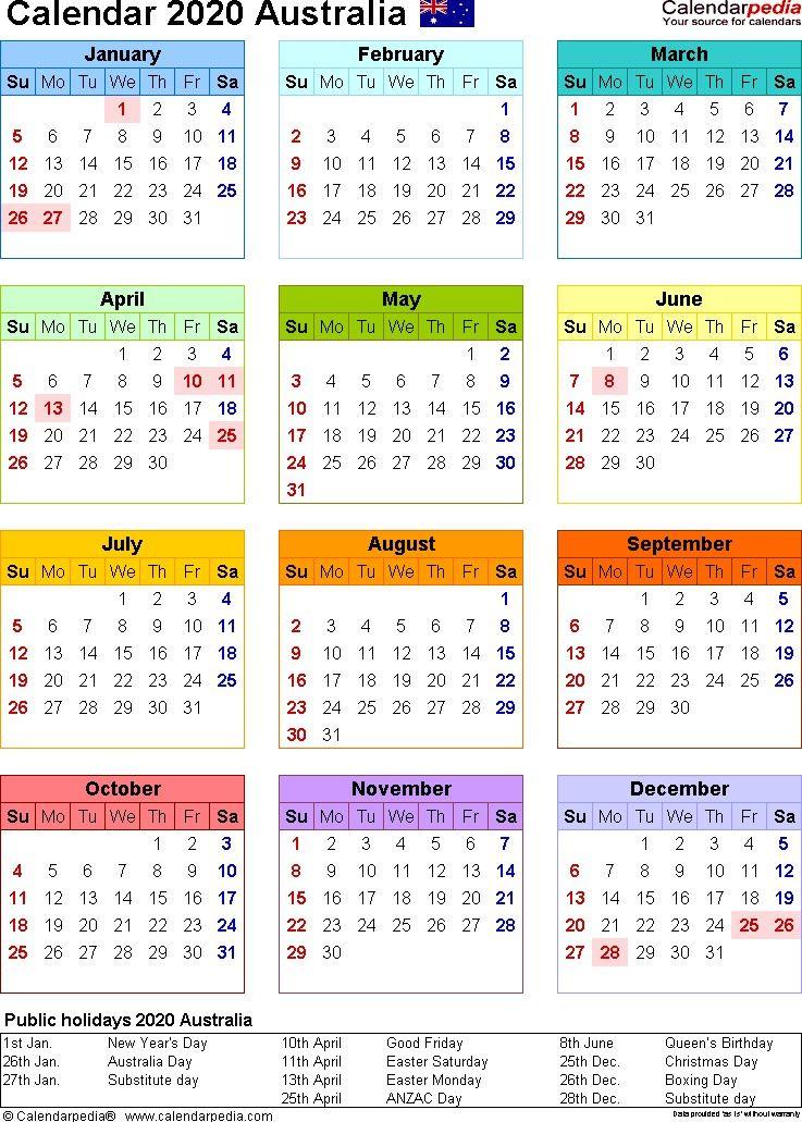 2020 Printable Calendar Australia