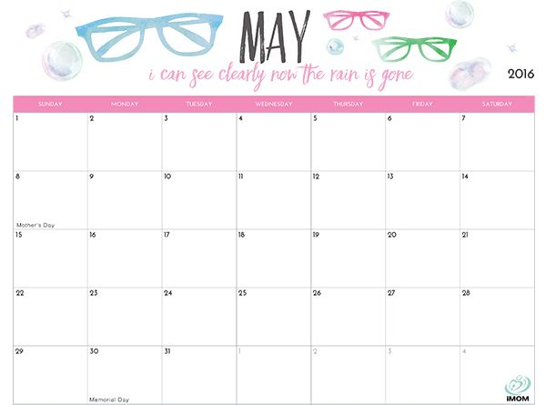 2020 Printable Calendar For Moms | 2018 Printable Calendar