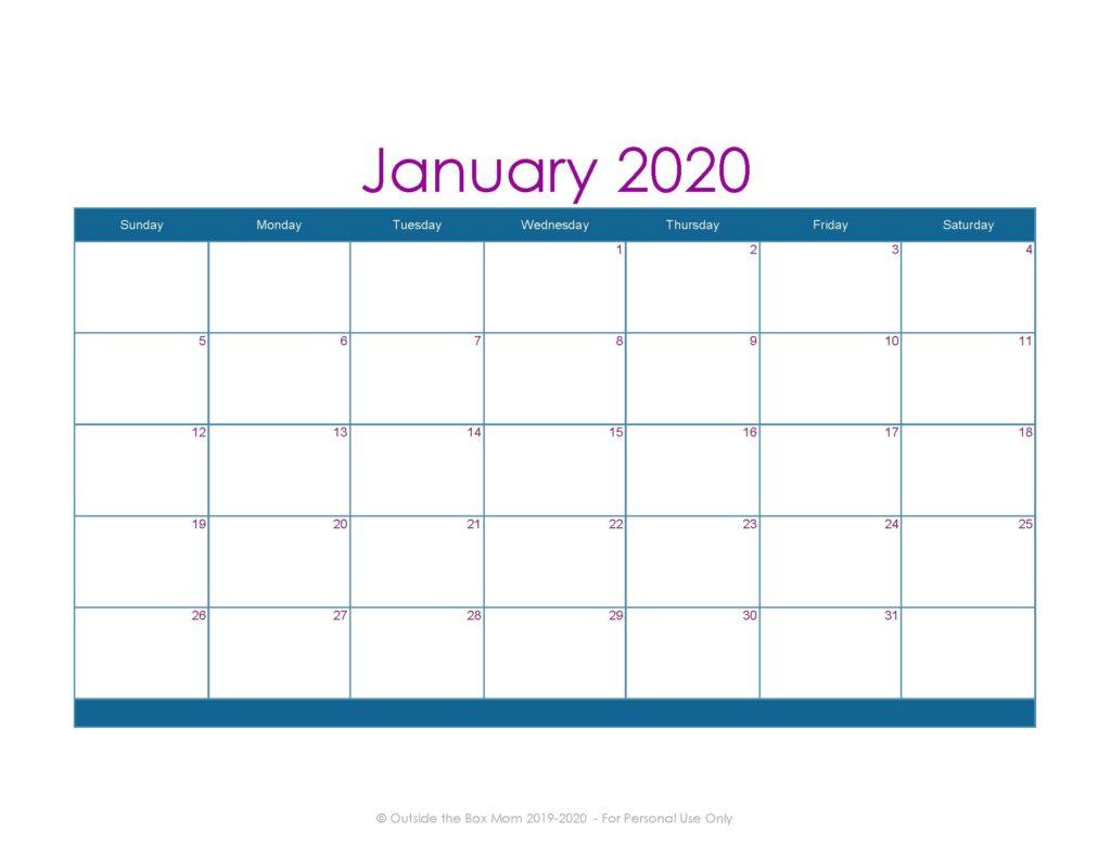 2020 Printable Calendar I Mom | Printable Calendar Free