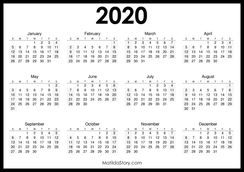 2020 Printable Free Calendar, Horizontal, Black – Sunday