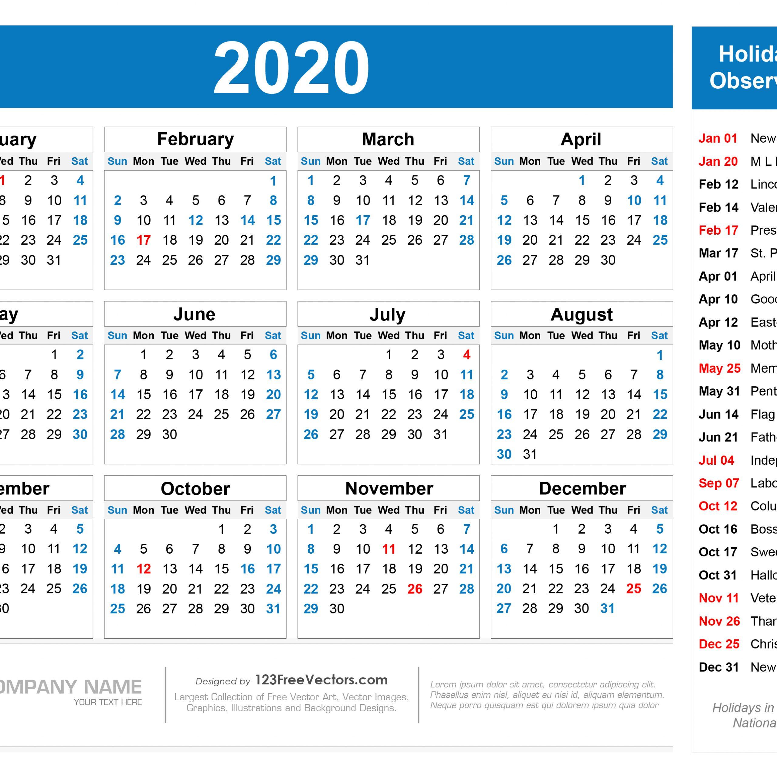 2020 Printable Vacation Calendar | Free Printable Calendar