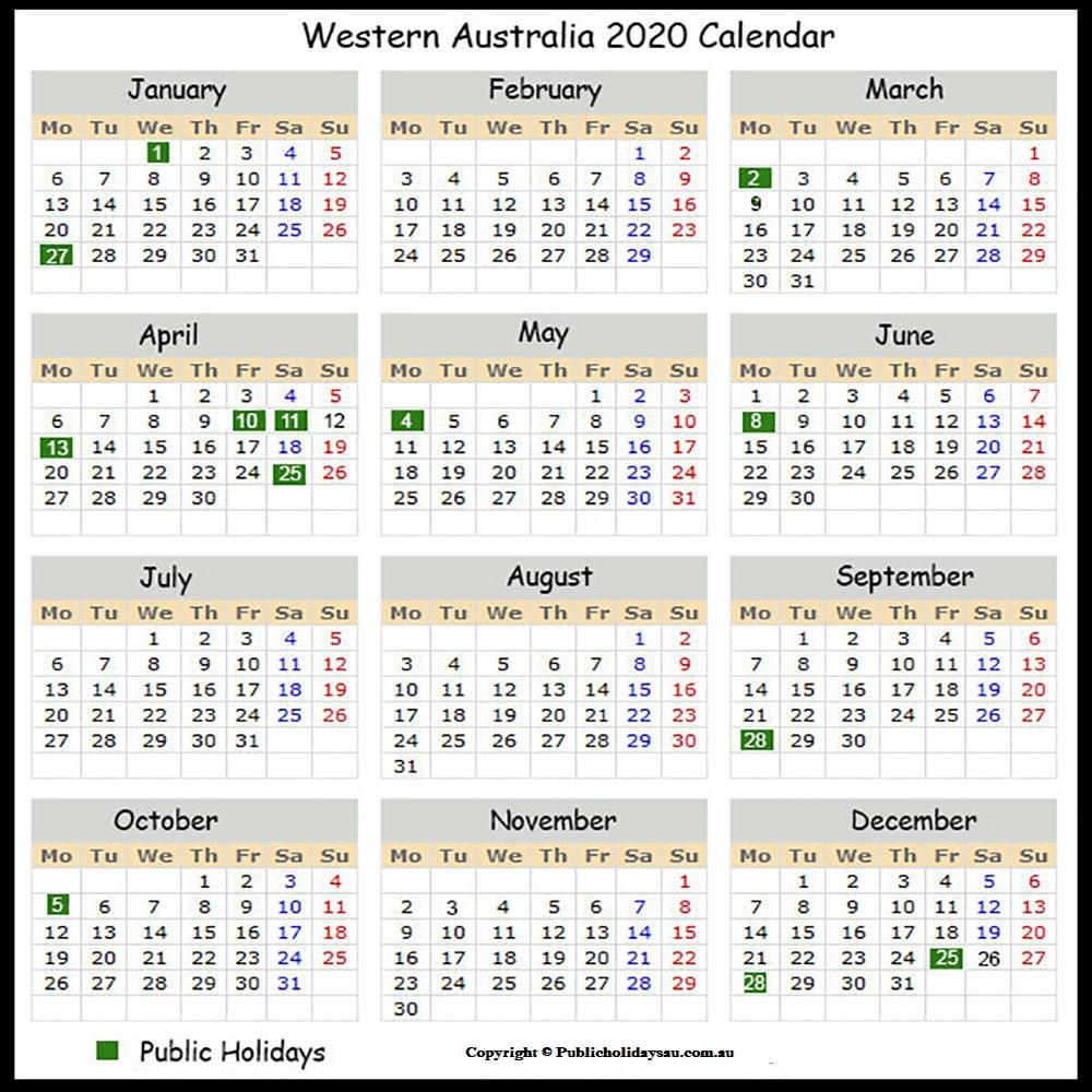 2020 Public Holidays Wa