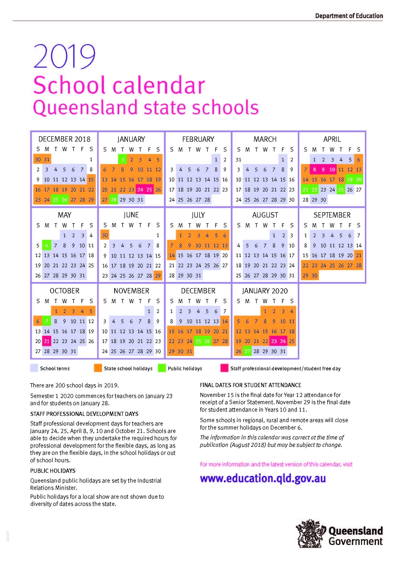 2020 Qld School Holidays Printable | Calendar Template